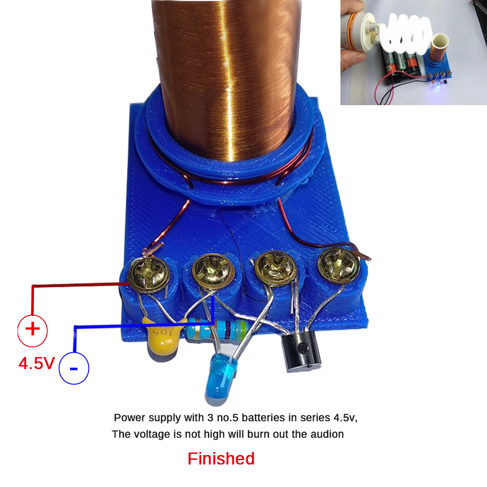 Newest Diy Mini Tesla Coil Kit Magic Props DIY Parts Empty Lights Technology