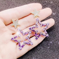Fashion New Trendy Luxury Double Star 3 Colors For Choose 925 Sterling Silver Pin Earrings Jewelry Gifts For Women Party Wedding