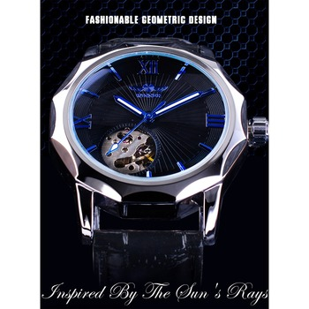 Winner Blue Ocean Geometry Design Transparent Skeleton Dial Mens Watch Top Brand Luxury Automatic Fashion Mechanical Watch Clock 1
