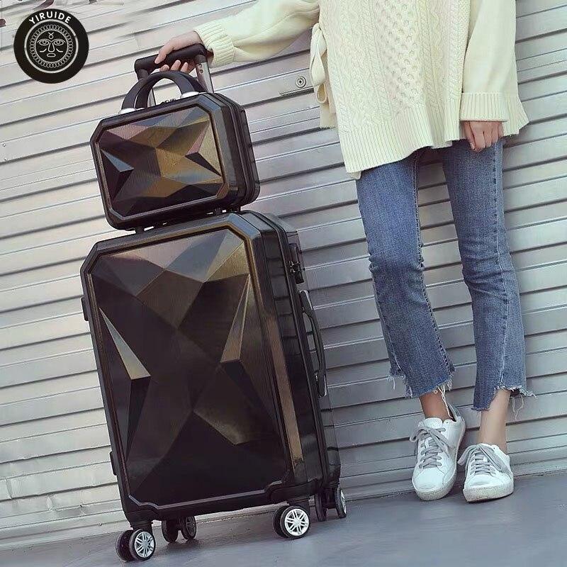 """2 ชิ้น/เซ็ตน่ารัก 14 """"กระเป๋าเครื่องสำอางเพชร 20/24/26/28 นิ้วสาวนักเรียนรถเข็นกระเป๋าเดินทางกระเป๋าเดินทางผู้หญิง rolling กระเป๋าเดินทาง-ใน กระเป๋าเดินทางแบบลาก จาก สัมภาระและกระเป๋า บน AliExpress - 11.11_สิบเอ็ด สิบเอ็ดวันคนโสด 1"""