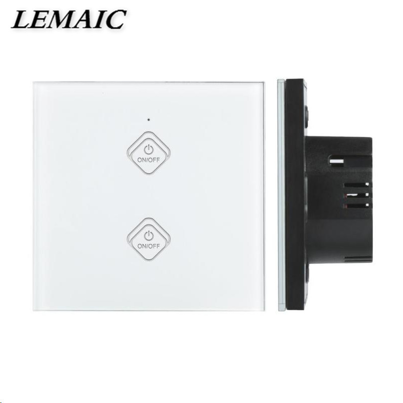 LEMAIC WiFi Smart Switch Amazon Alexa Google Home Timing Function 2 Gang Waterproof Touch Panel w/ APP Remote Control EU Plug eu us smart home remote touch switch 1 gang 1 way itead sonoff crystal glass panel touch switch touch switch wifi led backlight