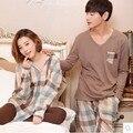 2017 Primavera Casal Pijama Definido para Mulheres Dos Homens Amantes de Algodão Sleepwear Salão Homewear Hombre Adulto Calças Tops