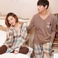 2017 Spring Couple Pajamas Set for Men Women Sleepwear Lounge Cotton Lovers Homewear Hombre Adult Tops Pants