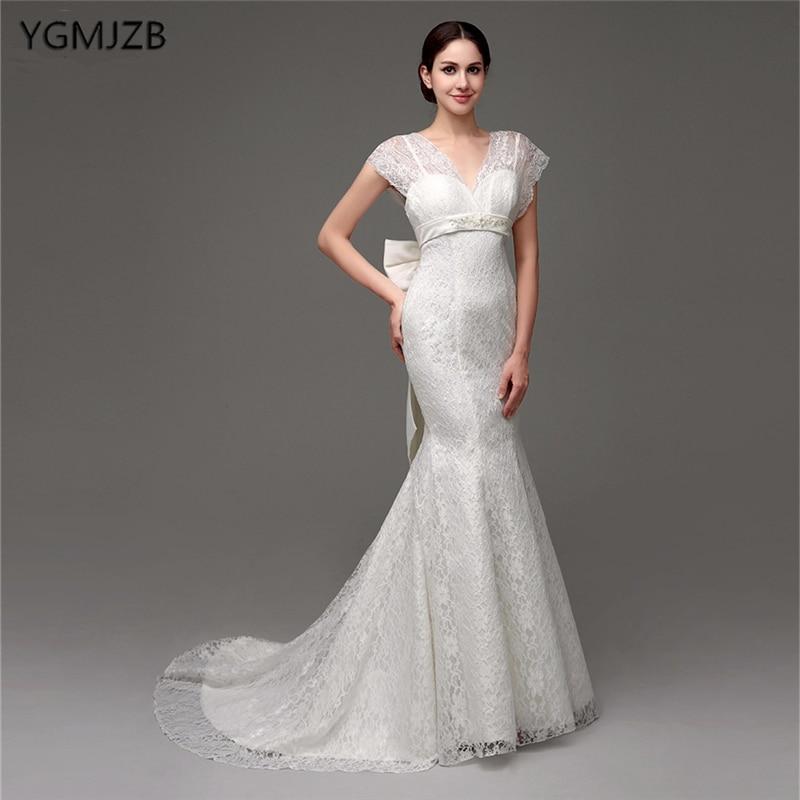 Cap Sleeve Lace Wedding Gown: Brautkleid 2019 White Lace Wedding Dresses Long Mermaid V