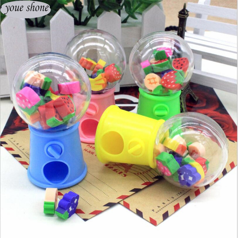 Youe Shone 1pcs/Lot Elastic New Selling Creative Fruit Style Twist Machine Rubber Cartoon Eraser Children Gifts Students Small