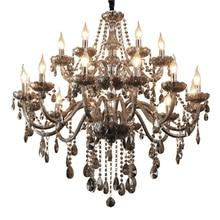 Серый дым хрустальная люстра современной гостиной лампа Ресторан светодиодные люстры классическая свеча хрустальные люстры светильники для спальни черная люстра люстра потолочная гостиная арт деко плафон для люстры