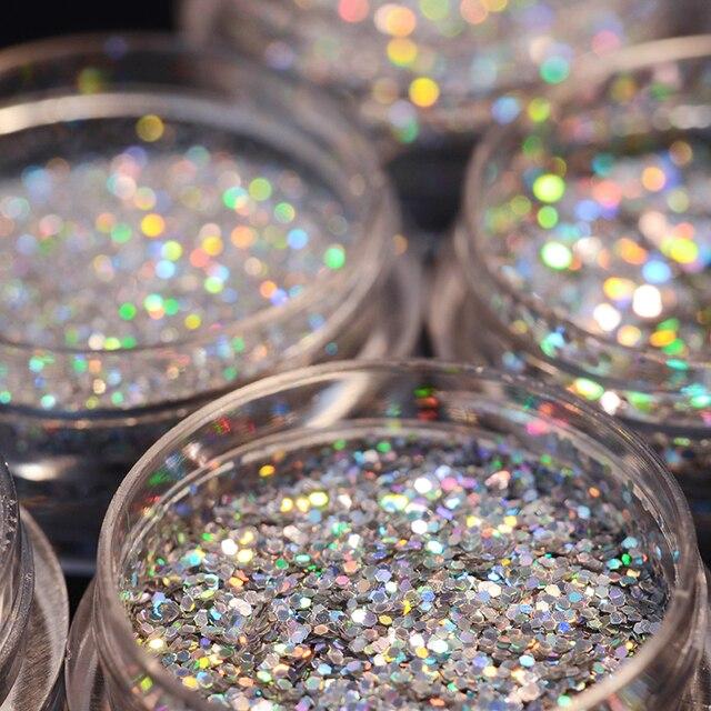 0.2mm 0.8mm Sequins Nail Glitter Powder Laser  Silver Gold DIY Holo thinShiny  Nail Art Powder Dust Decor