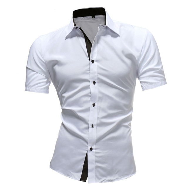 2018 Men Classic Business Shirts Casual Jeans Mens Solid color Shirt New short Sleeve Casual Slim Fit Male Blouse Shirt