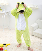 Green Frog Jumpsuit For Children Kids Onesie Pajamas Cosplay Costume Clothing For Halloween Carnival