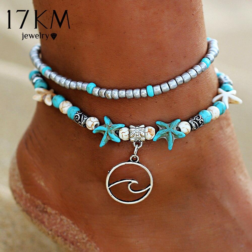 17 Km Bohemian Welle Fußkettchen Für Frauen Vintage Multi Layer Perle Fußkettchen Bein Armband Sandalen Boho Diy Sommer Charme Schmuck