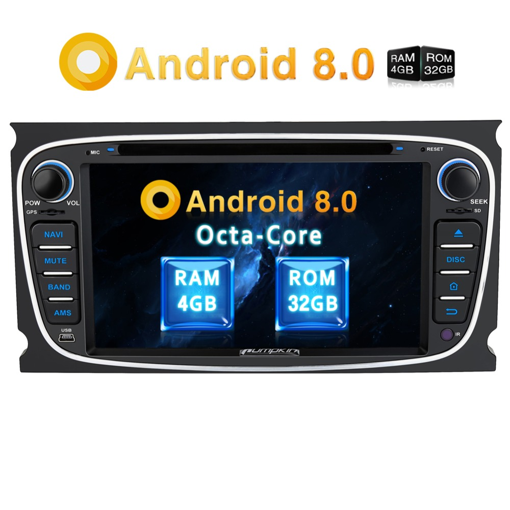 Pumpkin 2 Din 7'' Car Multimedia Player Android 8.0 GPS Autoradio For Ford Focus/Mondeo RAM 4GB Qcta-Core Car Stereo Radio Audio