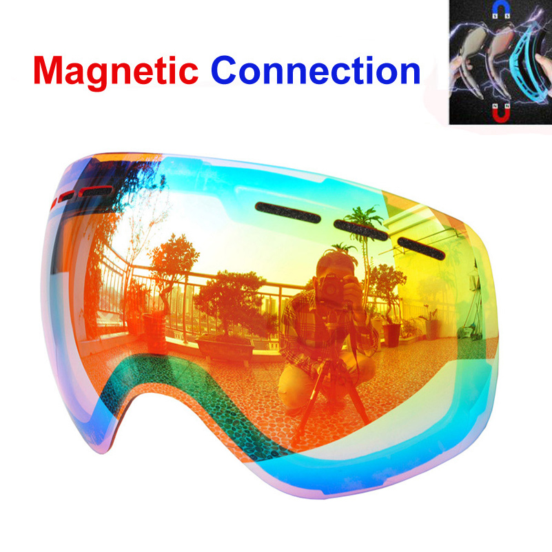 Lens for magnetic ski goggles snow-4100 anti-fog UV400 large spherical snowboarding eyewear skiing glasses lens robin schulz robin schulz uncovered 2 lp cd