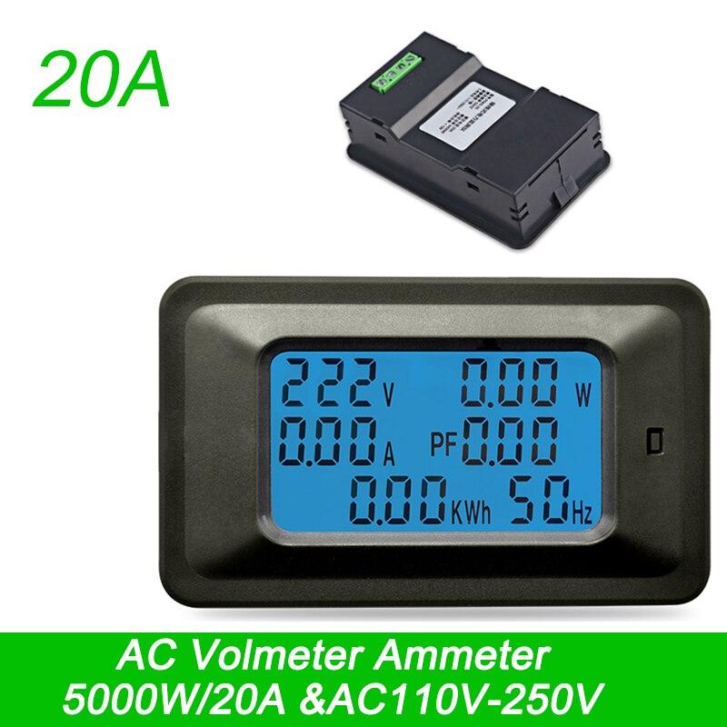 AC220V 20A Digital l amperímetro del voltímetro de la actual medidor de voltaje de energía amplificadores de potencia de wattmeter Detector comprobador de indicador