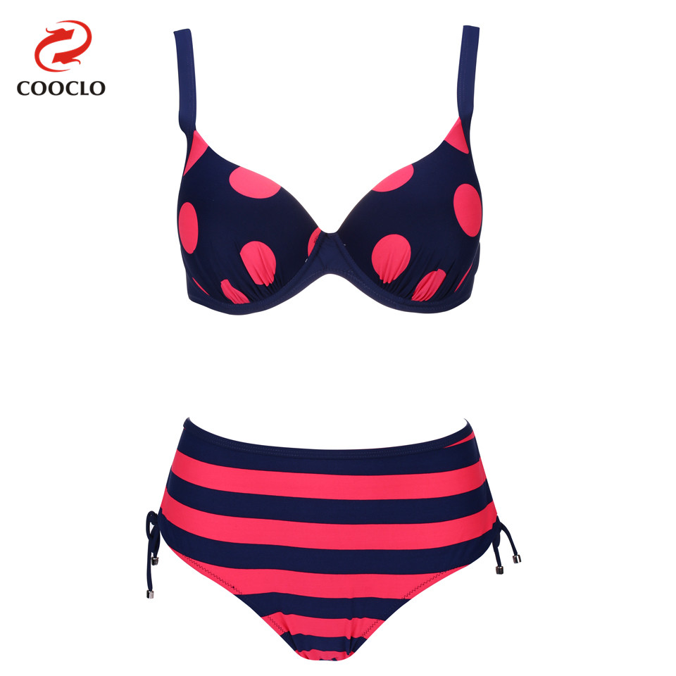 COOCLO Plus Size Swimwear Beach Wear Vintage Bikini 2018 Push up Sexy Women Swimsuit Dot Striped Bikinis Set Bathing Suit new fat wear plus size bikini set bathing suit push up bikinis women large cup bikini set women swimwear sexy plus size swimsuit