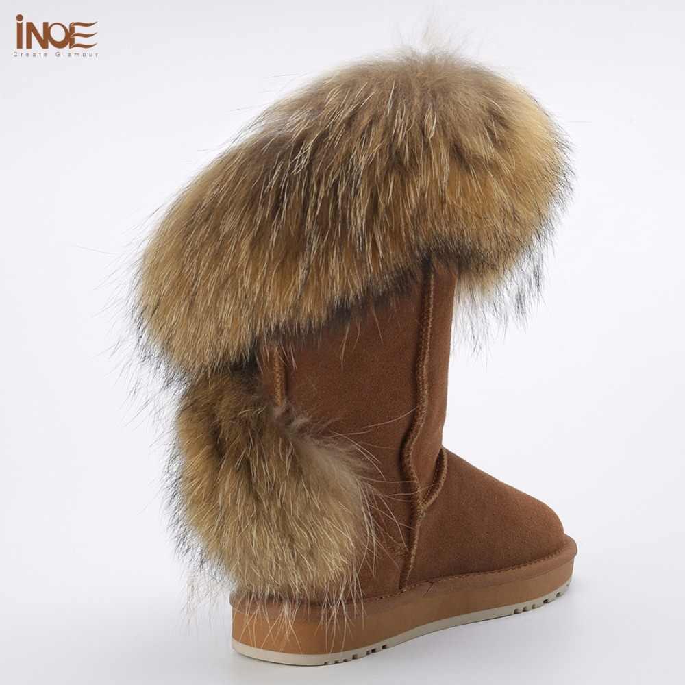 INOE אופנה חדש סגנון גדול טבעי שועל פרווה גדילים womans חורף שלג מגפי נשים פרה זמש עור נעלי חורף שחור חום