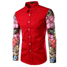 Zogaa 2019Hot Sale Men Flower Printed Shirts Slim Spring Autumn Long Sleeve Casual Fashion Red Black White with Turn Down Collar girls plaid blouse 2019 spring autumn turn down collar teenager shirts cotton shirts casual clothes child kids long sleeve 4 13t