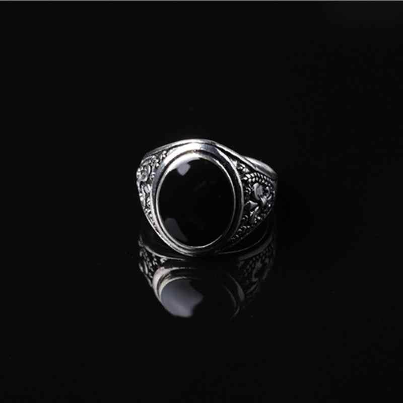 d97ceb108632 YAKAMOZ Venta caliente de diamantes de imitación negro anillo de Signet  para los hombres y las mujeres Punk diseño único flor anillo de piedra ...