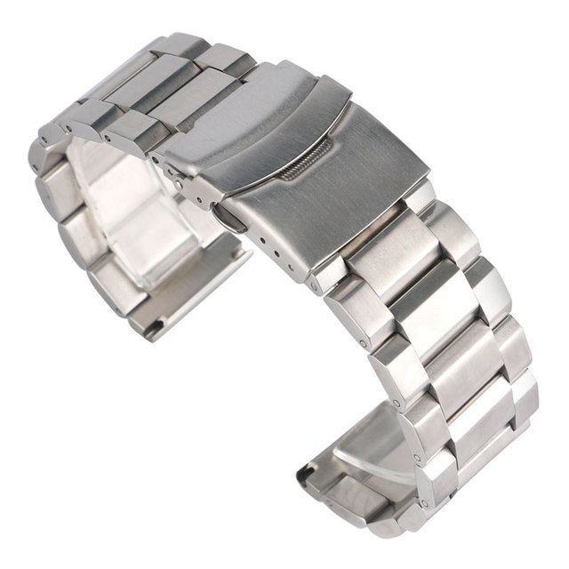 18/20/22/24mm High Quality Silver Solid Link Watch Band Strap Stainless Steel Lu