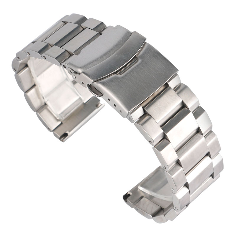 18/20/22/24mm High Quality Silver Solid Link Watch Band Strap Stainless Steel Luxury Replacement Bracelet Adjustable Watchbands