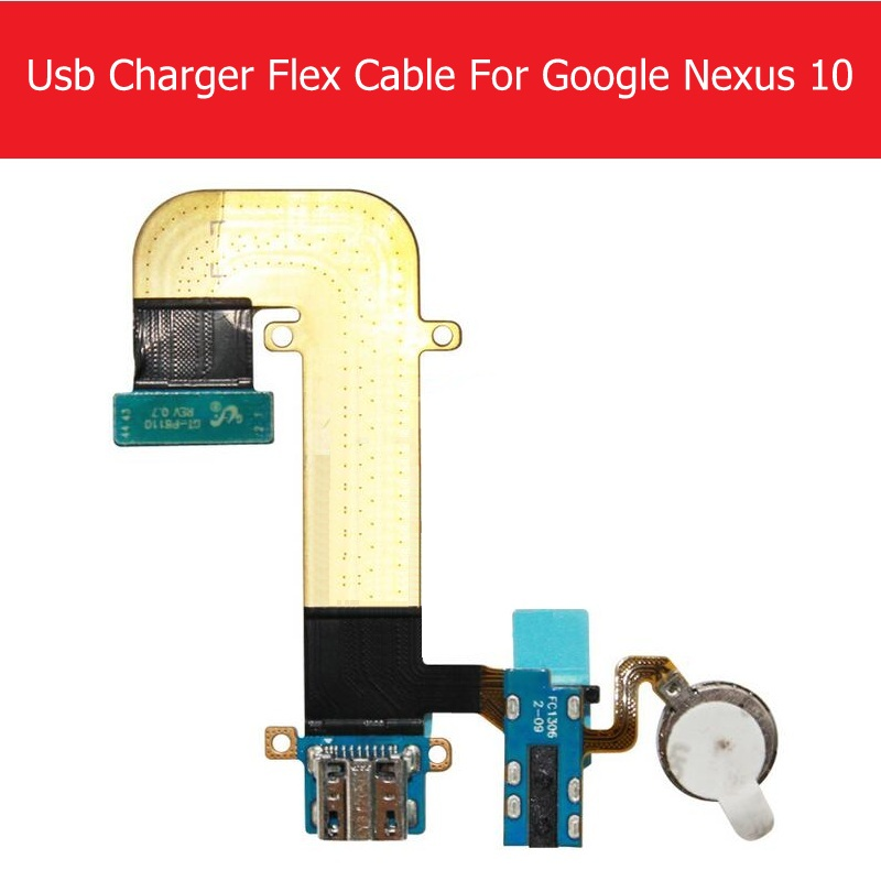 USB Charging Connector Flex Cable For Samsung Google Nexus 10 P8110 GT-8110 USB Charger Flex Cable + Vibrator Replacement Repair wide flex cable version 100