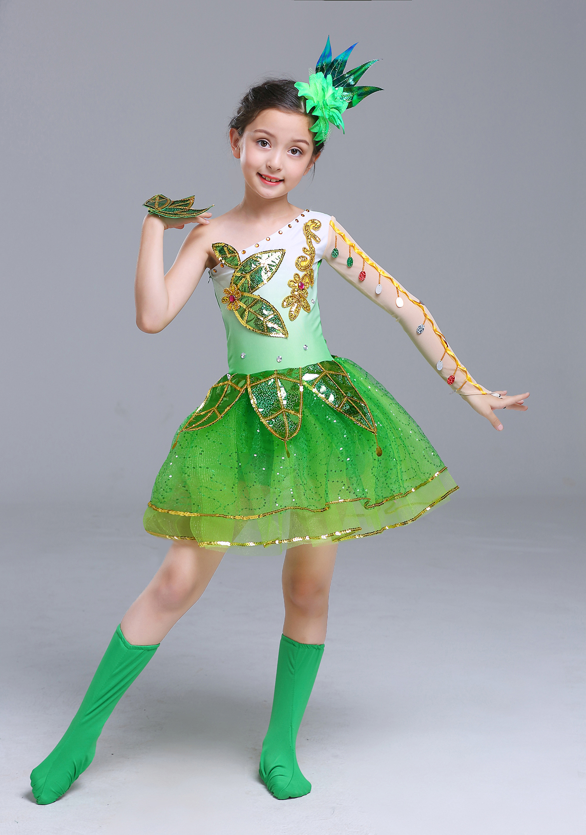 4529aa04e Sequins dance costume little tree dance dress performance costume ...