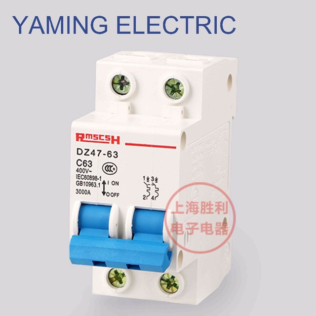 P68 Miniature Circuit Breaker DZ47 63 400V 2P 6 63A 2 Pole Switch ...