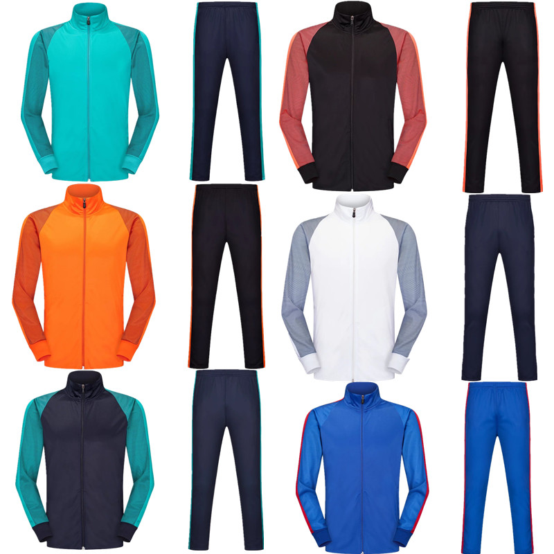 2019 football sets long sleeve running football jacket and tracksuit pants training suit kids up to adult soccer uniforms 6803