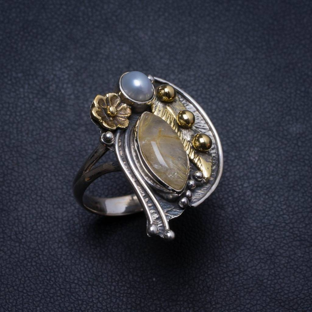 Natural Two Tones Rutilated Quartz Biwa Pearl Unique 925 Sterling Silver Ring, US size 8.25 X2040 plus size two tones panel chiffon blouse