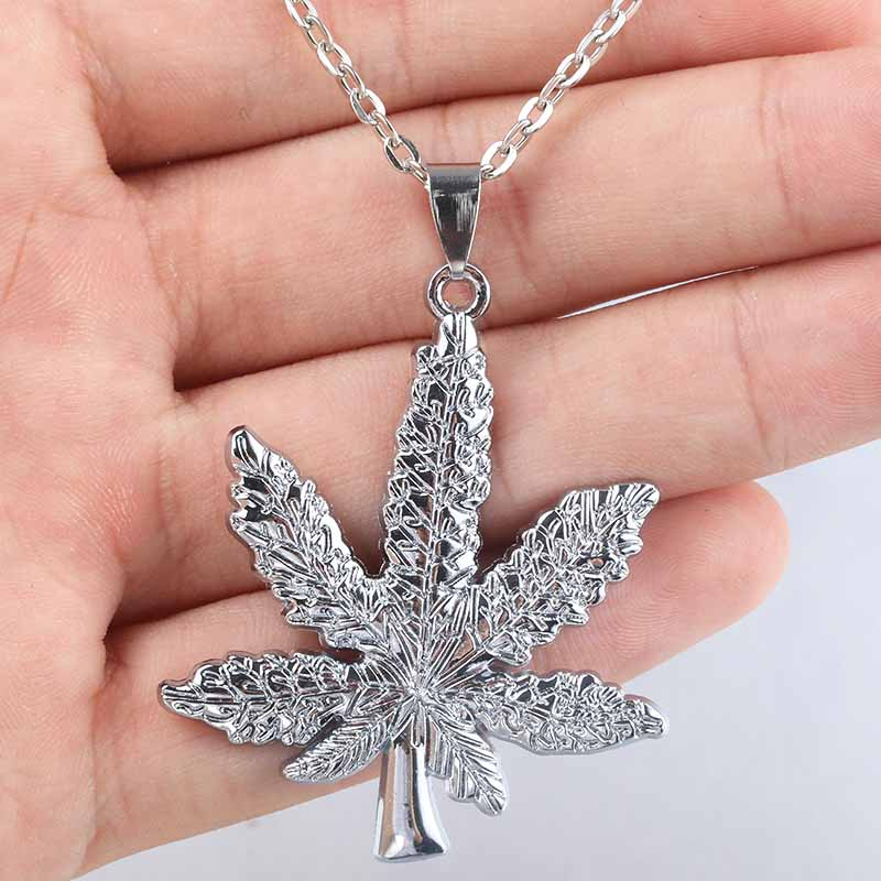 2018 New Silver Plated <font><b>Cannabiss</b></font> Weed Herbal Necklace Maple Leaf Pendant Necklace Hip Hop Jewelry Men and Women Pendants image