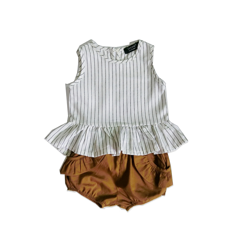 Summer Girls Set Vetement Garcon Cotton Linen Ruffles Striped Sleeveless Vest + Shorts Boutique Toddler Baby Girls Clothes Set бабочка белая с рисунком garcon ут 00004860