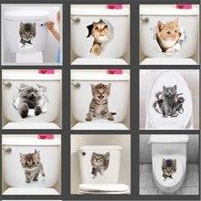 1 шт. милый 3D котенок Туалет Наклейка кошка на стену кухня холодильник наклейка s для гостиной спальня домашний декор