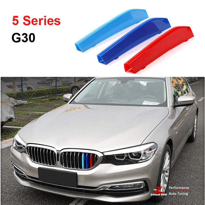 For 2017 ALL NEW BMW 5 series G30 G31 G38 530i 540i 520d 530d 3D Front Grille Trim motorsport Strips grill Cover Stickers