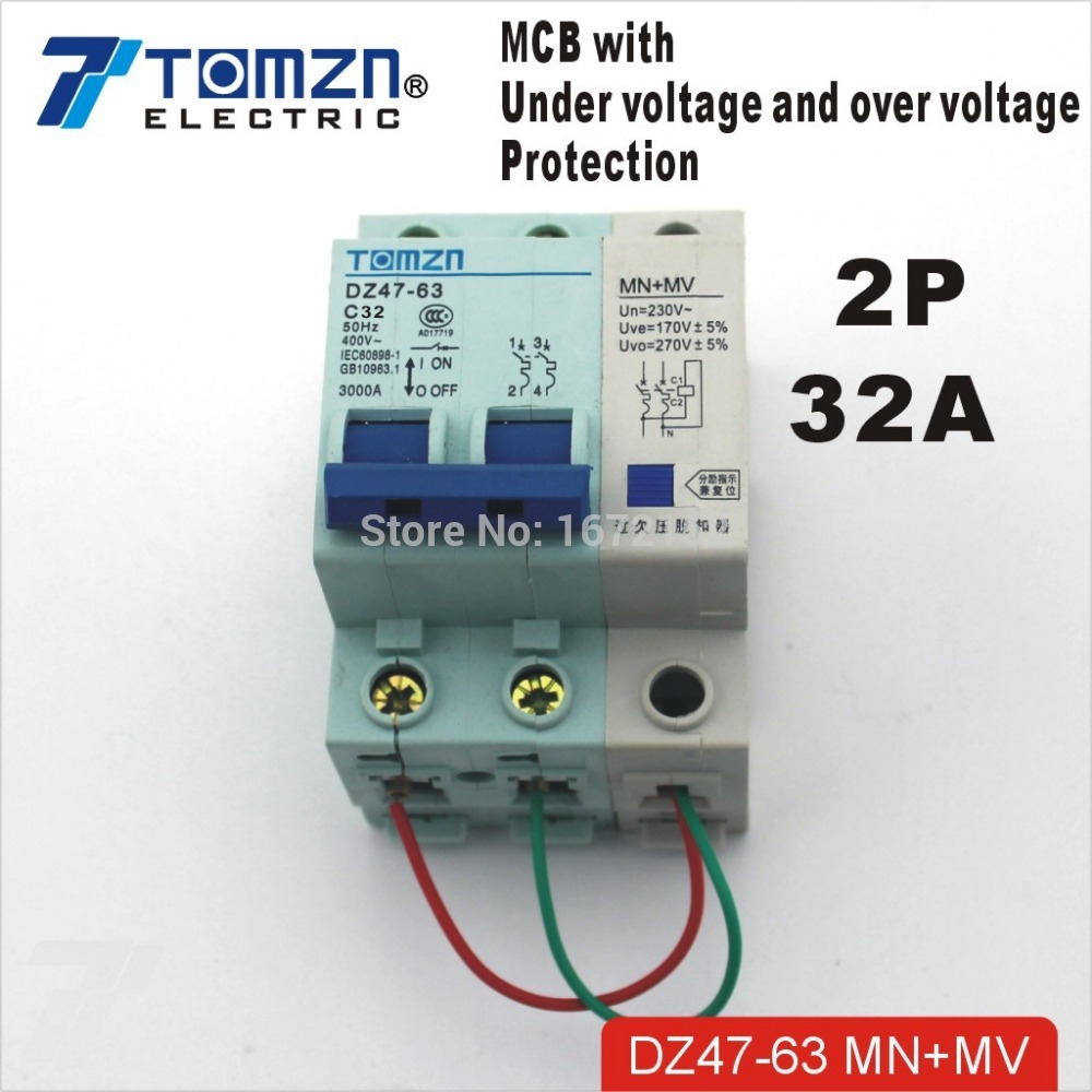 2P 32A 400V~ 50HZ/60HZ MCB with over voltage and under voltage protection Mini Circuit breaker