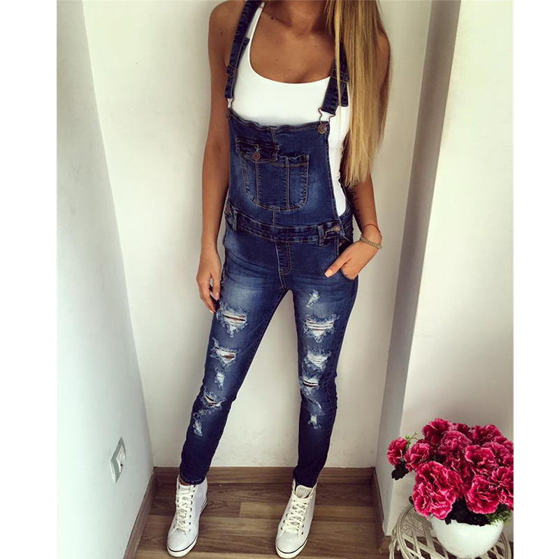 Tireless 2019 New Jumpsuits Women Solid Spring Ripped Hole Denim Jumpsuits Female Sexy Slim Push Up Jeans Romper Freddy Overalls Z15