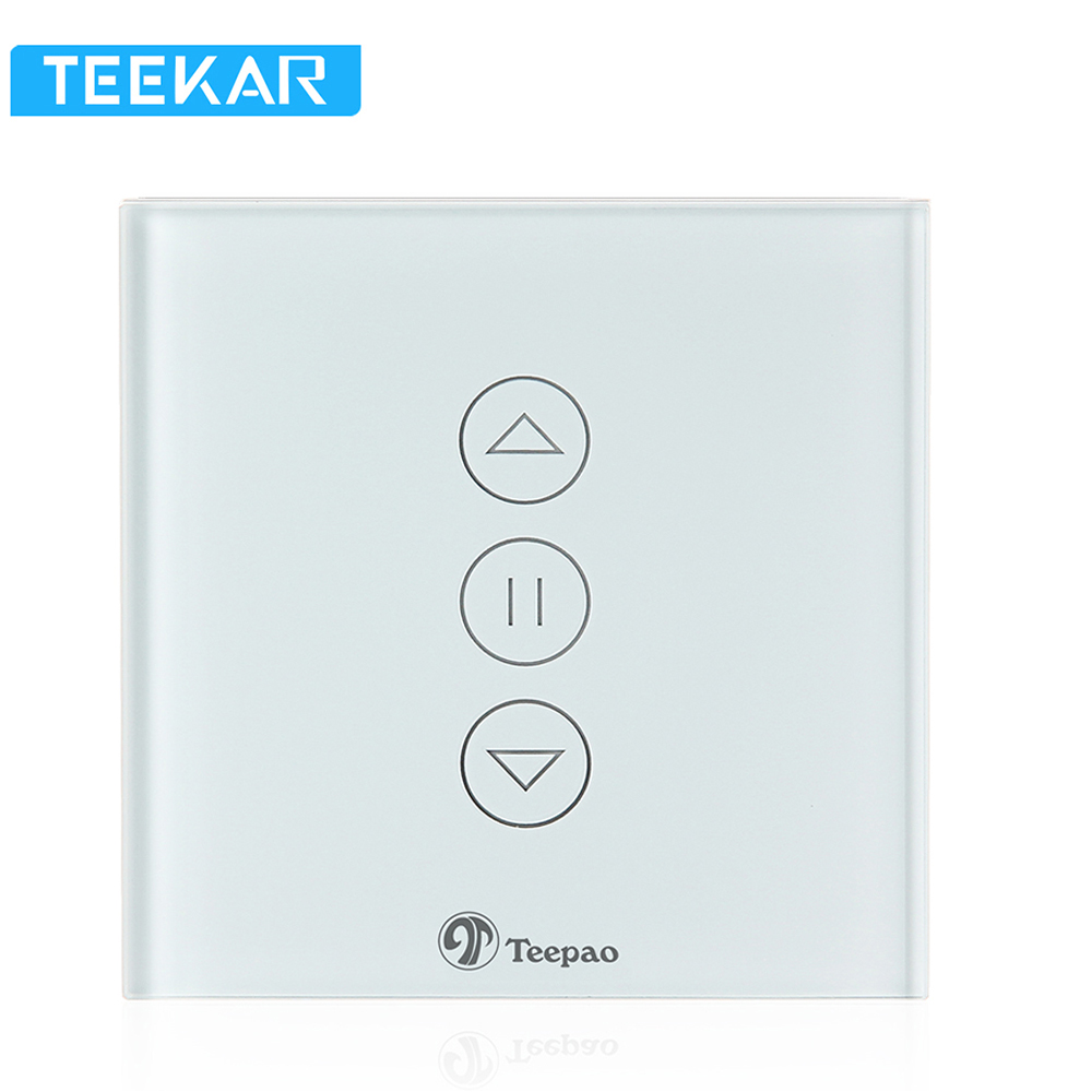 Teekar Smart Home WiFi Smart Curtain Switch Wall Touch Switch EU Standard For Electric Motorized Curtain Blind Roller Motor