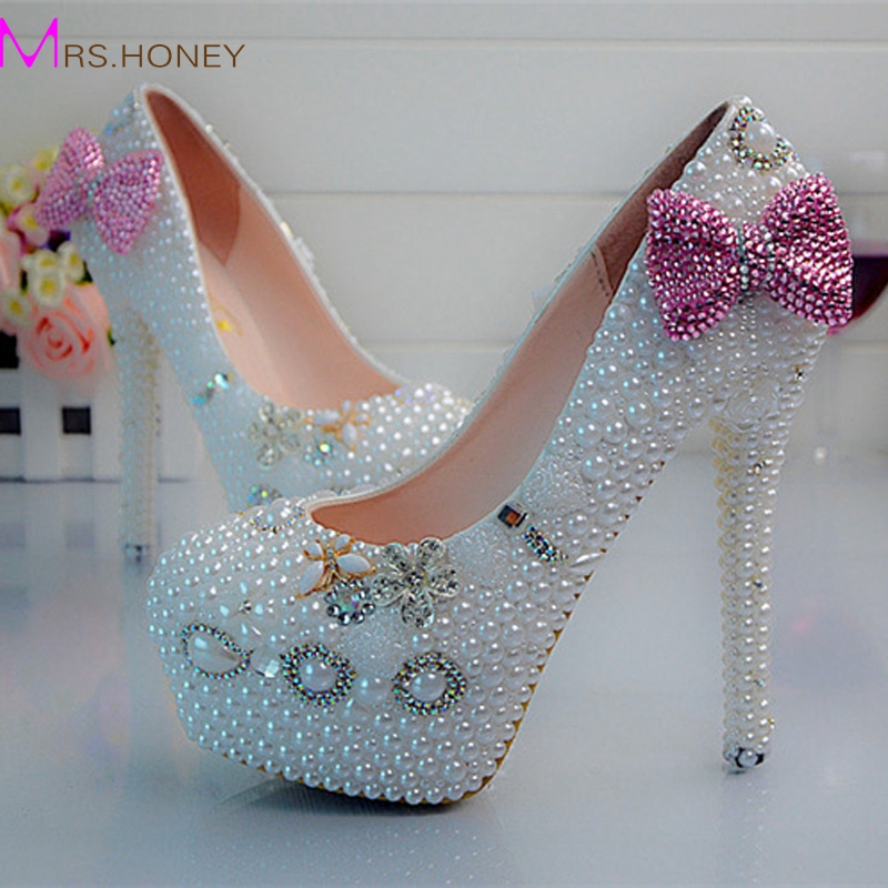 Luxurious Bridal Wedding Dress Shoes Pearl Bowtie Handmade High Heels Nightclub Prom Party Pumps White Pearl Bridesmaid Shoes