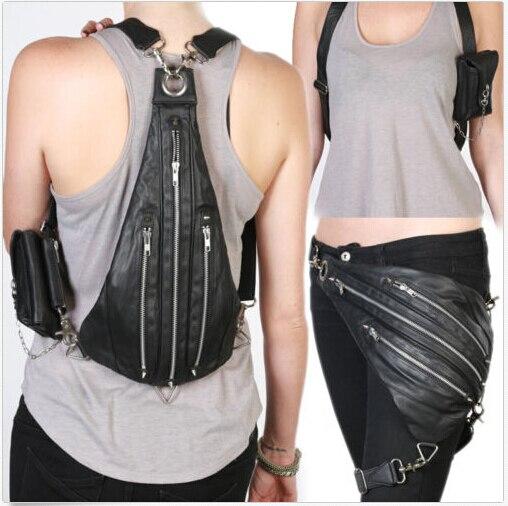 Top Quality PU Leather Waist Fanny Leg Bag Punk Rock Shoulder MessengerTop Quality PU Leather Waist Fanny Leg Bag Punk Rock Shoulder Messenger