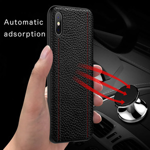 Image 5 - Genuine Leather Luxury Case For IPHONE XS MAX XS X XR Cowhide Full Protective Cover Support adsorption magnet