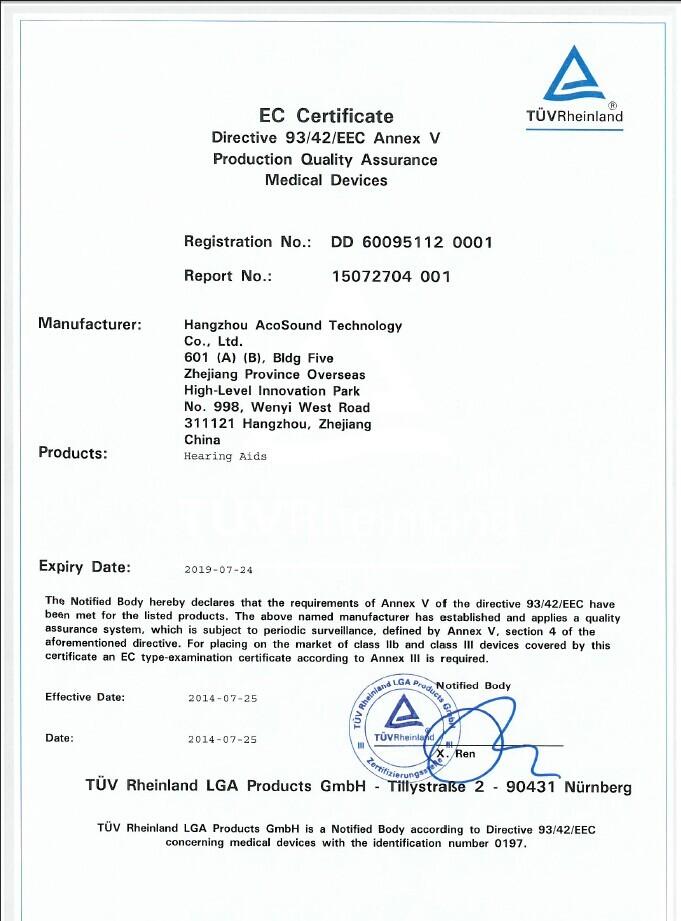 TUV CE certificate