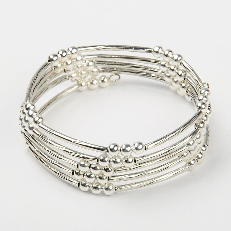 40pcs Unisex Memory Wire Wrap <font><b>Bracelets</b></font> <font><b>Silver</b></font> Color with Brass <font><b>Tube</b></font> Beads and Iron Spacer Beads, 55mm image