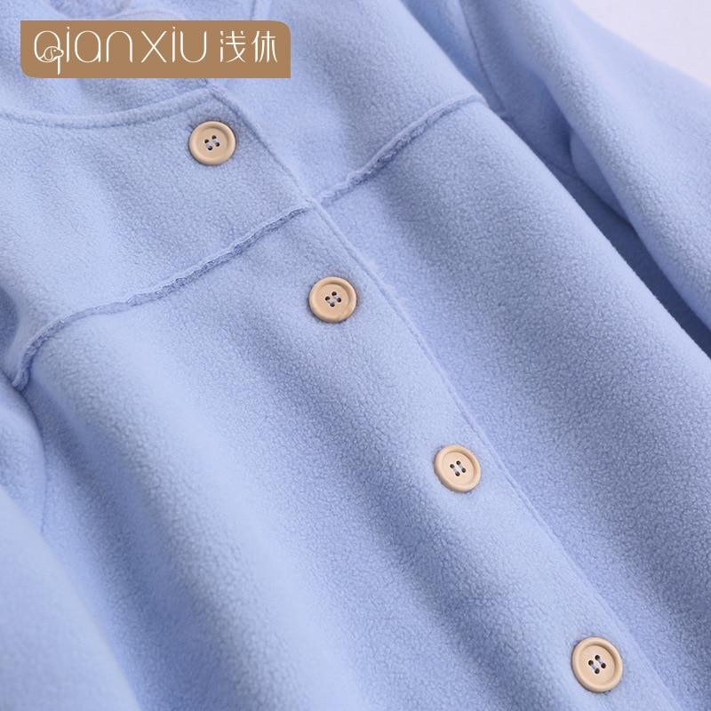 2018 Winter hot koop Vrouwen flanel Thicken warme Pyjama Set Staande kraag Nachtkleding Pak lichtblauw Pyjama casual homewear - 4