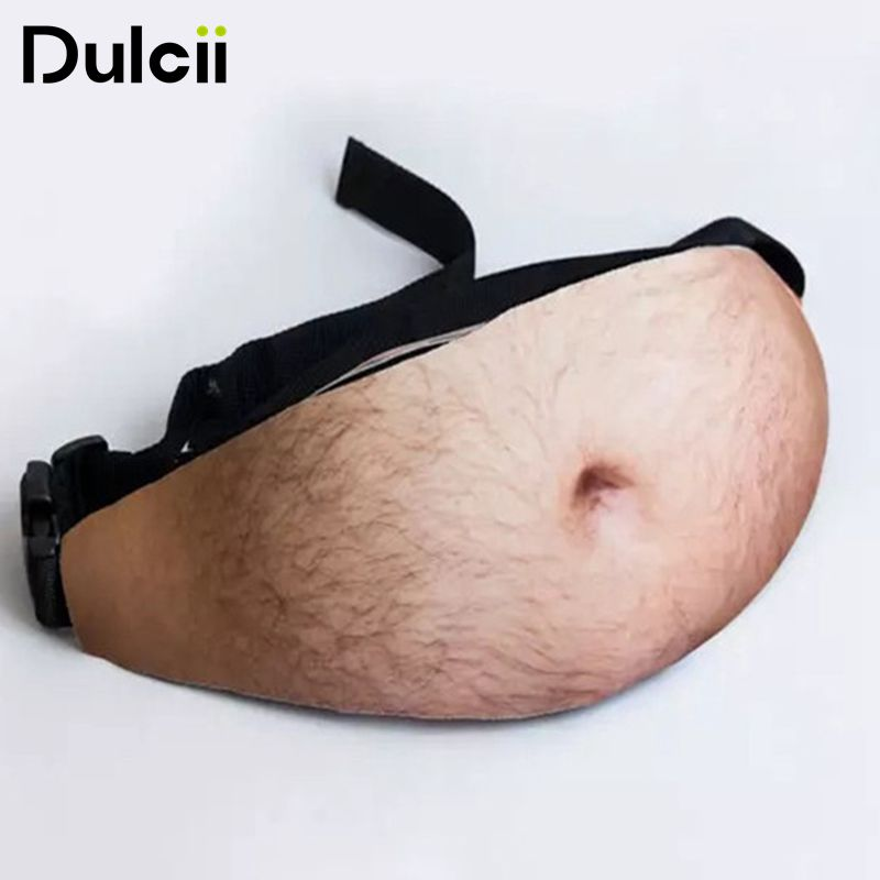 Dulcii Fashion Universal Dad Bag Dad bod Waist Bags Flesh Colored Beer Fat Belly Pack Funny Bags Dadbag for iPhone Samsung etc