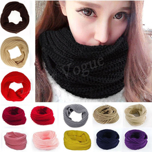 Женская мода зима Теплый Бесконечность Круг кабель вязать хомут шеи длинный шарф шаль