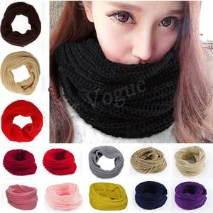 Women Fashion Winter Warm Infinity Circle Cable Knit Cowl Neck Long Scarf Shawl(China)