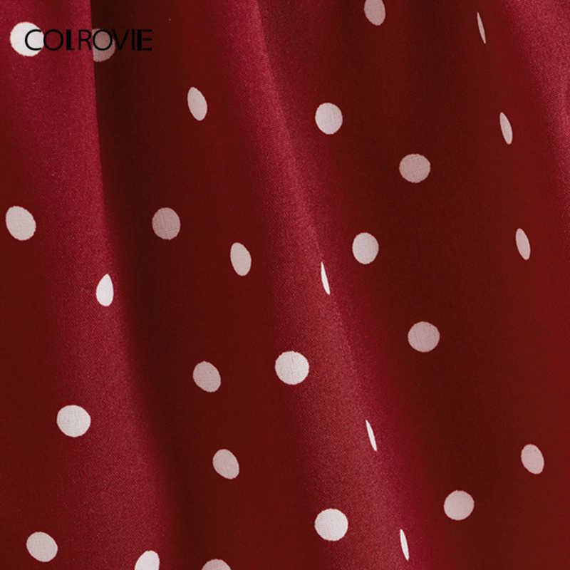 COLROVIE בורגונדי מנוקדת להתנפנף Trim קוריאני סגנון Cami למעלה נשים 2019 קיץ ללא שרוולים מתוק חג נקבה טי חולצות