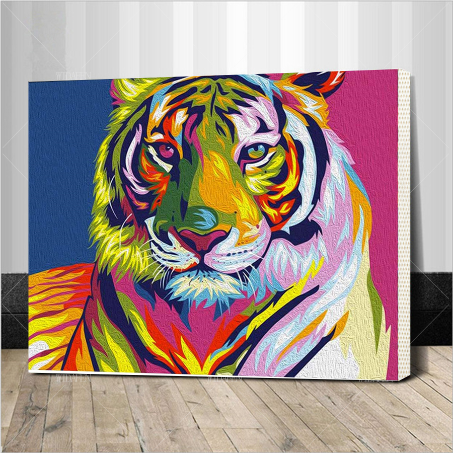 DIY lukisan minyak dengan nomor gambar pada kanvas dewasa mewarnai cat akrilik lukisan dengan nomor harimau kerajinan framed Seni kanvas Dicetak lukisan