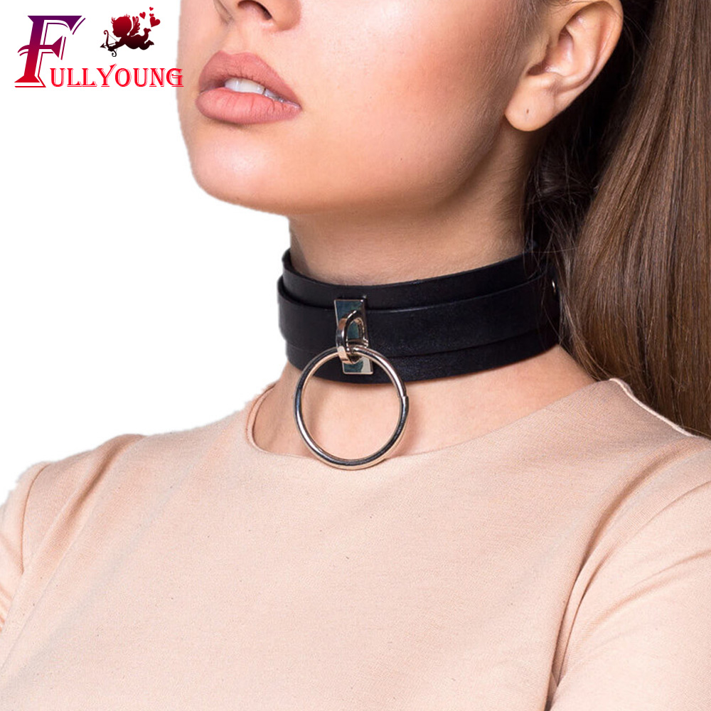 Fullyoung Women New PU Leather Collar Wide Neck Strap Adjustable Belt SM Bondage Punk Harness Suspender