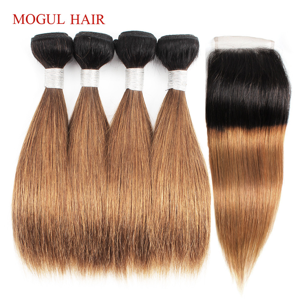 MOGUL HAIR 4 Bundle with Closure Honey Blonde Bundles With Closure 50g pc T 1B 27
