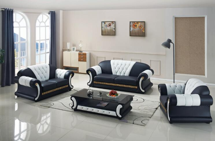 Sofa Set Living Room Furniture With Genuine Leather 3 Pcs In Living