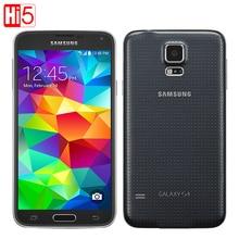 """Разблокирована samsung galaxy s5 g900 android сотовый телефон 16 г rom 16mp камера 5.1 """"сенсорный экран Quad Core Wi-Fi GPS бесплатная доставка"""